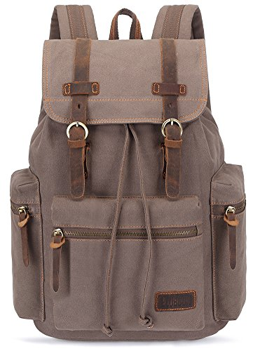 BLUBOON Canvas Vintage Backpack Leather Casual Bookbag Men Rucksack (Light Coffee) (Drawstring Backpack Leather)