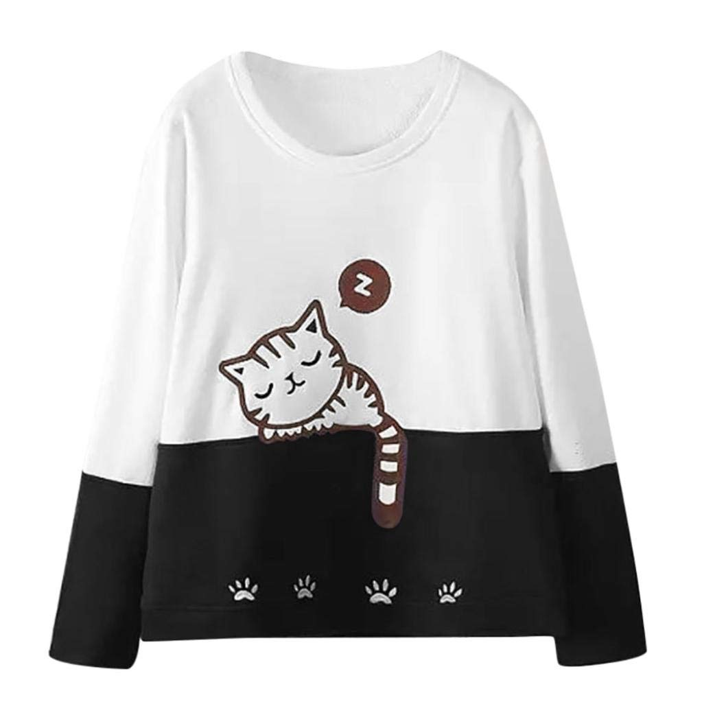NPRADLA Women Autumn Long Sleeve Cat Embroidery Sweatshirt Pullover Tops Blouse