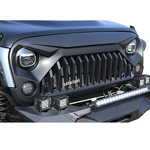 Safaripal Jeep Wrangler Gladiator Angry Front Grille Grill for Jeep Wrangler Rubicon Sahara Sport JK 2007-2017 Black
