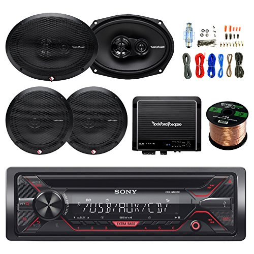 (Sony CDX-G1200U 55W CD Receiver,2X Rockford Fosgate R169X3 6 x 9 Inch 3-Way Speaker, 2X R165X3 6.5-Inch Full-Range 3-Way Coaxial Speaker, R500X1D 500W Amplifier, Enrock 8-Gauge Install Wiring Kit)
