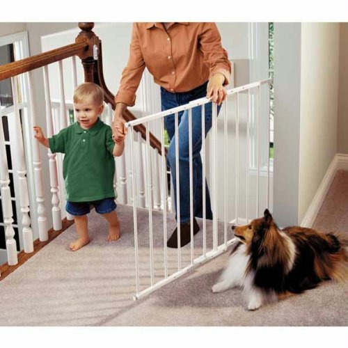 Kidco Safeway Gate, Top of Stairs Gate, White (Best No Trip Stair Gate)