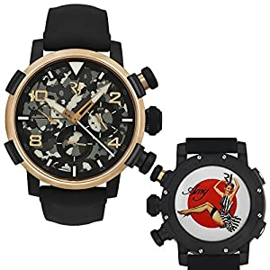 Romain Jerome Pinup DNA Red Gold WWII Amy Stripes Chrono Auto RJ.P.CH.003.01