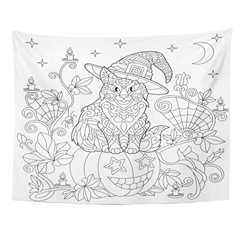 Tarolo Decor Wall Tapestry Halloween Coloring Page Cat in Hat Pumpkin Spider Lanterns Candles Moon and Stars Freehand Sketch Drawing 60 x 50 Inches Wall Hanging Picnic for Bedroom Living -