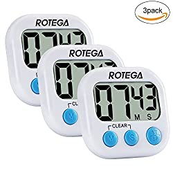 3Pack Upgraded Digital Kitchen Timer Large LCD Display,Volume Adjustable, Back Strong Magnetic Auto Shutdown,Count-Down Up Clock, White