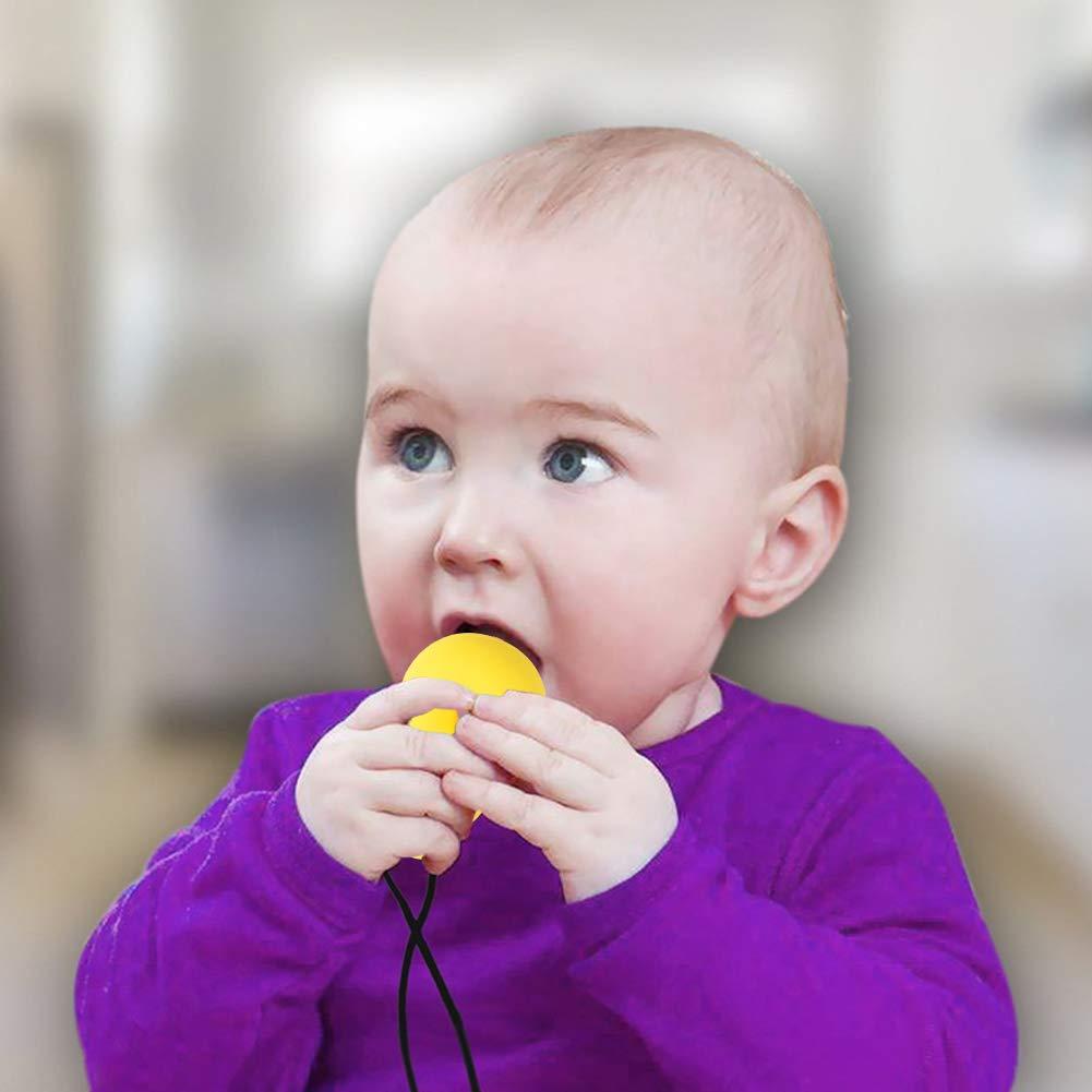 Yuccer 2 PCS Colgante Mordedor para Ni/ños Collares de Lactancia Bebe Mordedores para Bebe Silicona Azul + Amarillo Collar de Lactancia