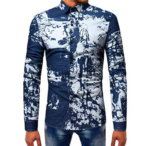 Tops 12 Hommes Manches Shirts Liquidation Hommes Marine Mode Zhrui Thin Décontractée Marine Luk Tops Longues À Cn Taille couleur Chemise Imprimée IHOwzq