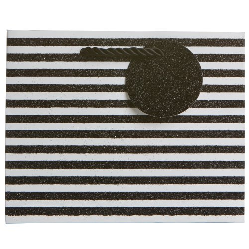"""Jillson Roberts 6-Count Small 7.5"""" x 6"""" x 3"""" All-Occasion/Wedding Gift Bags Available in 8 Designs, Black and White Glittered Stripes"""