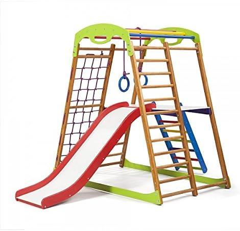 KindSport Centro de Actividades con Tobogán ˝Babywood-Plus-2˝, Red de Escalada, Anillos, Escalera Sueco, Campo de Juego Infantil: Amazon.es: Juguetes y juegos