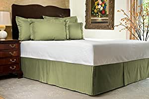 """Soft & Comfort 400 Thread Count Full Size Bed Skirt in Stripe Sage with 24"""" Drop Length By EgyptianCottonStore"""
