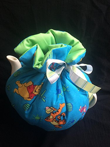 Winnie the Pooh and Tigger Too!- Bright beautiful Blue & Green print Reversible Tea cozy, wrap style with elastic bottom med 6-8cup