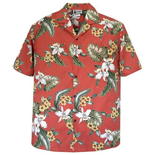 5XL Orange Vintage Orchids Hawaiian Shirt