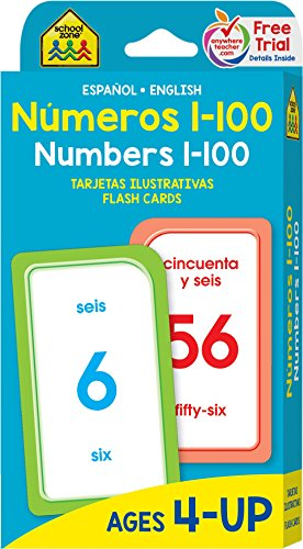 Numbers 1-100 Flash Cards - Bilingual (Spanish Edition)