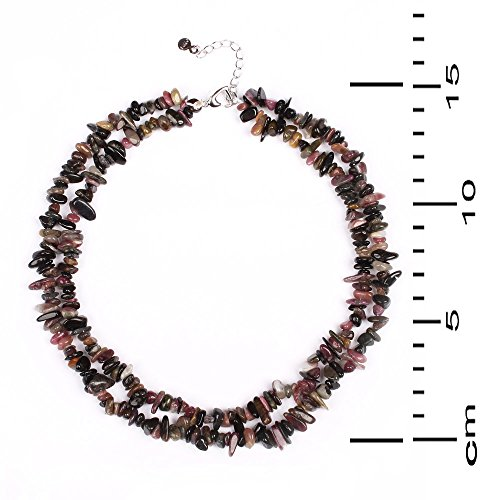Gem Stone King 18inches Classic Tourmaline Chips 2-Row Necklace + 2inches Extender & Heart Clasp