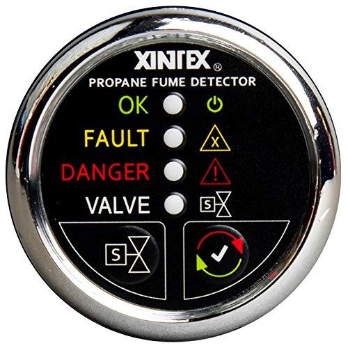 - Xintex Propane Fume Detector W/Automatic Shut-Off & Plastic Sensor - No Solenoid Valve - Chrome Bezel Display