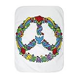 Royal Lion Baby Blanket White Pop Art Peace Symbol Flowers Stars
