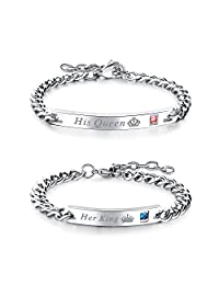 Stainless Steel His Queen Her King Link Bracelets,Bling CZ Inlaid,Size Adjustable for Couples Engagement