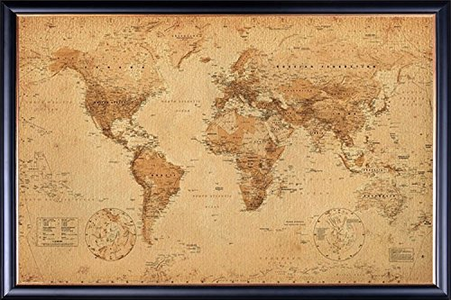 FRAMED Perfect For Push Pins World Map Vintage for Tracking Trips 24x36 Poster Dry Mounted in Executive Series Black Wood Frame With Gold Lip - Crafted in USA
