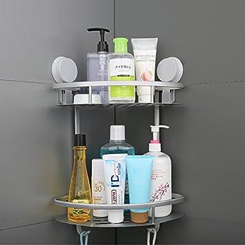 Mcelf Int. Corner Shower Caddy Suction Bathroom Shampoo Storage Adhesive Holder Shower Basket Double Layer Tray Hanging Organizer Shelf Multi-use by ...
