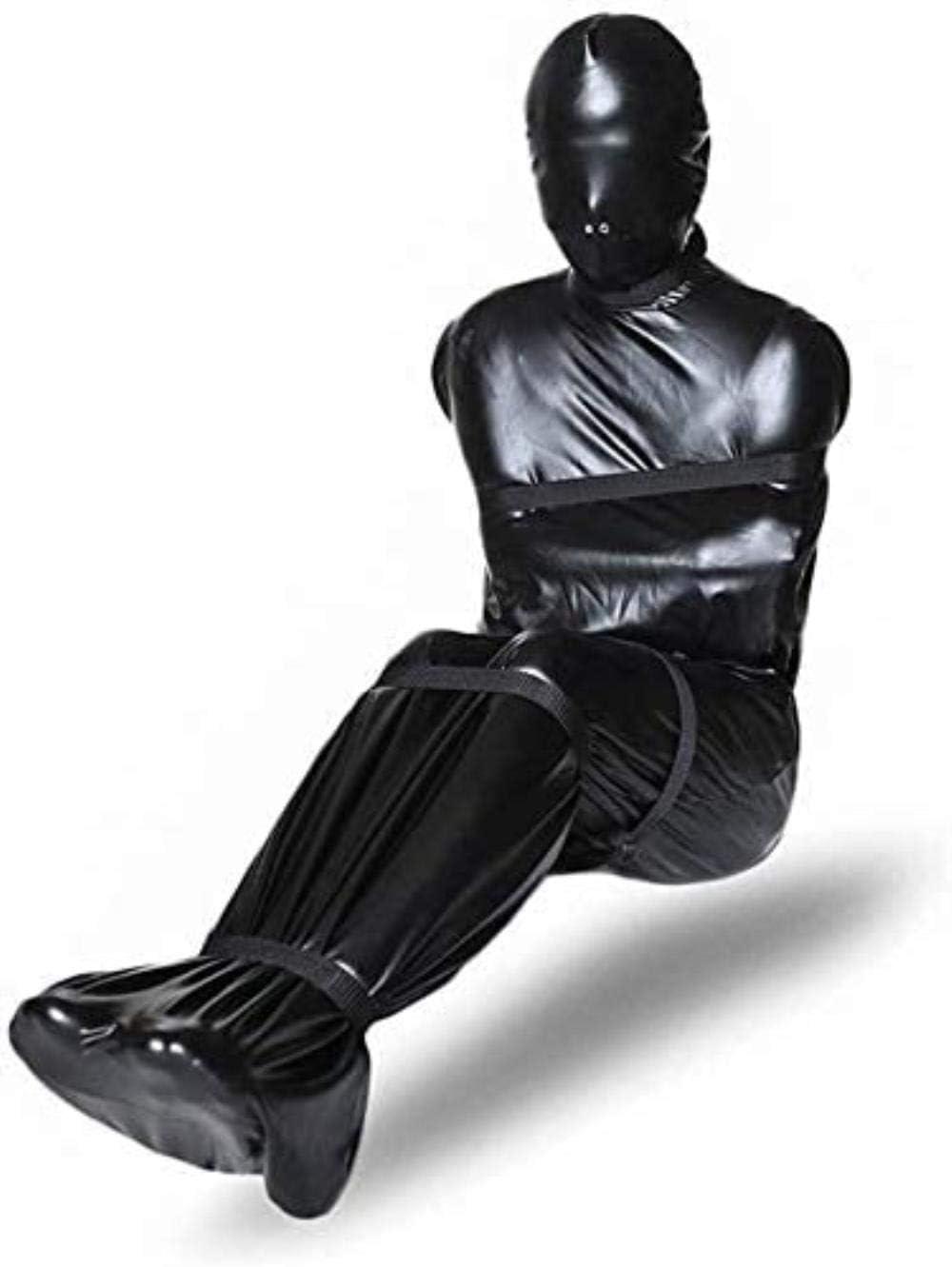 XDHN Ropa De Bondage/Saco De Dormir, Camisa De Fuerza De Cuero, Lencería Erótica SM Sistema De Sujeción De Pies Y Manos para Todo El Cuerpo Sistema De Sujeción, Juego Fetiche Esclavo Juguetes:
