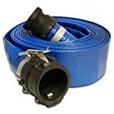 """Apache 98138044 2"""" x 25' Blue PVC Lay-Flat Discharge Hose with Poly Cam Lock Fittings"""