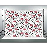 Rose,Cotton Cloth Backdrop Newborn Photography Baby Photo Studio Props Adults Portrait Pictures Background,3.28x5ft,Abstract Silhouettes Stylized Gardening Bedding Plants Curly Stems Swirls Pattern De