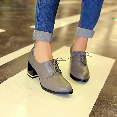 Latasa Womens Fashion Lace-up Mid Heel Chunky Oxfords Grey