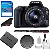 Canon EOS 200D Rebel SL2 Kit with EF-S 18-55mm f/4-5.6 IS STM Lens Digital SLR Camera (Black) (International Model) + Basic Photo Accessory Bundle