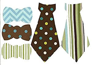 """[5 Count Set] Custom and Unique (6.5"""" x 5"""" Inches) Boys Baby Shower DIY Clothing Pillow Decoration Cute Patterned Bow Ties and Iron On Embroidered Applique Patch {Green, Blue, Brown & White Color}"""