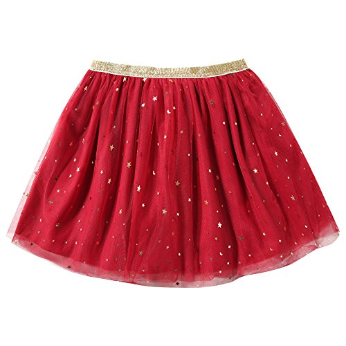 bbhoney Little Girls layered Tutu Skirt Dance Birthday Ballet Tulle Dress up (4T/5, Star Red)