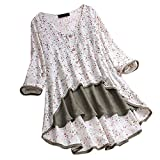 Witspace Women Casual Irregular Floral Print Patchwork Long Sleeve T-Shirt Top Blouse White
