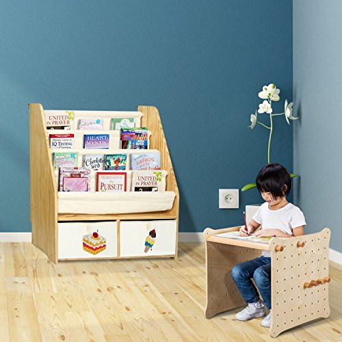 MallBest Childrens Bookshelf Kids Sling Book Rack with Two Storage Boxes and Toys Organizer Shelves Natural Solid Wood Baby Bookcase by MallBest (Image #7)