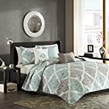 Madison Park Claire 6 Piece Quilted Coverlet Set, Full/Queen, Aqua