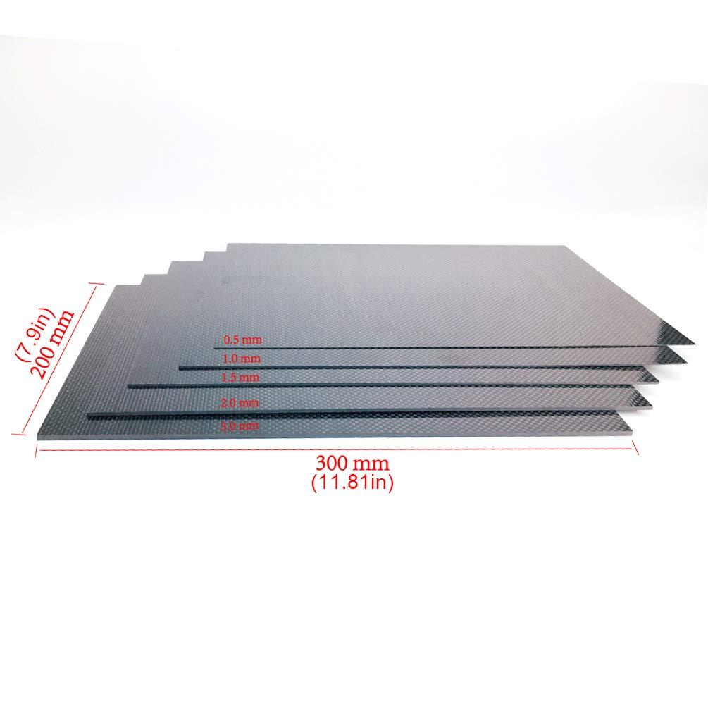 Piastra In Fibra di Carbonio 200X300X0.5Mm1.5Mm 2.0Mm 2.5Mm 3 Mm Bordo In Fibra di Carbonio Pianura Tessuto Flessibile Ad Alta Resistenza Lamiera per Telecomando Aereo 0.5Mm Spessore