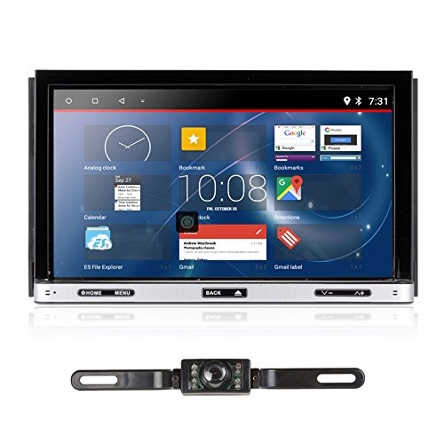 Upgarde Version Andriod 7.1 Double DIN Car Stereo -Ehotchpotch 7'' in Dash car Radio GPS Navigation Audio Receiver Bluetooth WiFi Mirror Link SD USB AM/FM /MP3/MP4 CD DVD Player + Rearview Camera