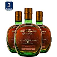 3X2 Whisky Buchanan's 18 años - 750 ml (Paquete de 3 botellas)