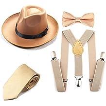 ZeroShop 1920s Mens Accessory Set Manhattan Fedora Hat, Suspenders Y-Back Elastic Trouser Braces,Pre Tied Bow Tie,Gangster Tie