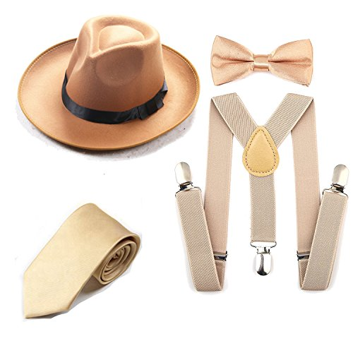 Men's Roaring 1920s Set Manhattan Fedora Hat,Y-Back Suspenders & Pre Tied Bow Tie, Gangster Tie & Fake Mustache (OneSize, Z-Champagne)