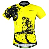 xxl mens cycling jersey - Men Cycling Jerseys Shirts Breathable Quick Dry Short Sleeves Suit  Biking Shirts Aogda Team Cycling Clothing White (Yellow Jerseys, 2XL)