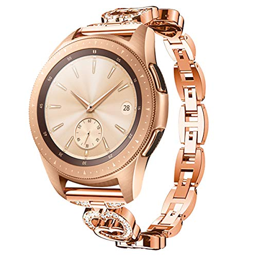 Elobeth Compatible with Galaxy Watch Band 42mm Active 40mm Bands Alloy Crystal Rhinestone Bracelet Women (Rose Gold)