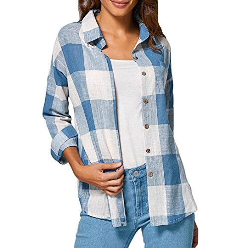 FTXJ Women Casual Mid-Long Flannel Plaid Cardigan Open Front Shirt Top Lightweight Jacket (M, Blue) -