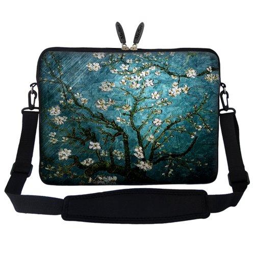 Meffort Inc 15 15.6 inch Neoprene Laptop Sleeve Bag Carrying Case with Hidden Handle and Adjustable Shoulder Strap - Vincent van Gogh Almond Blossoming