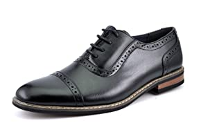 Bruno HOMME MODA ITALY PRINCE Men's Classic Modern Oxford Wingtip Lace Dress Shoes,PRINCE-5-BLACK,15 D(M) US