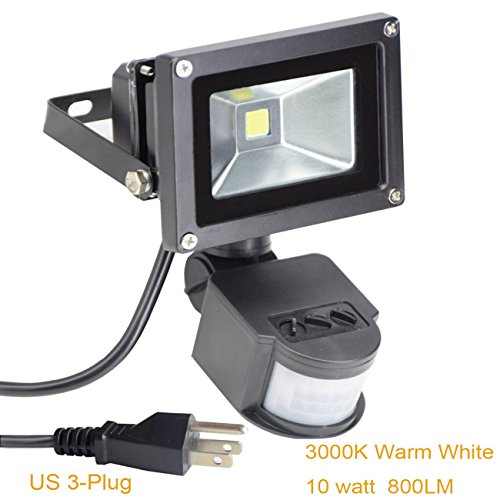 Led Motion Sensor Flood Light Outdoor 10W (Replace 80 watt Halogen Bulbs) Waterproof Security Floodlight Wall Fixture Lamps for Garage Yard Garden Pathway Porch Entryways-Warm White (with US - Durable 10w Reflector