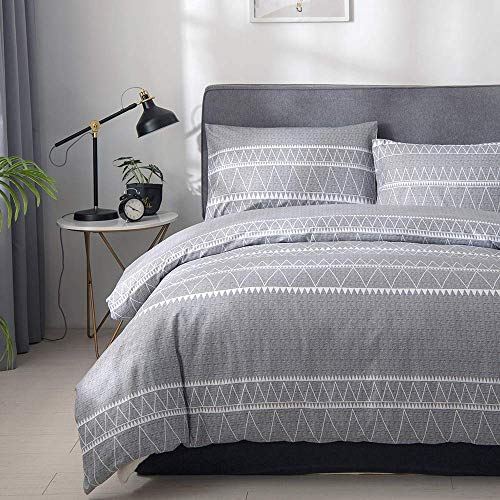 Uozzi Bedding 3 Piece Gray Duvet Cover Set, 800 - TC Luxury Hypoallergenic Comforter Cover with Zipper Closure, Corner Ties. 1 Duvet Cover + 2 Pillow Shams (Triangle Stripes Gray, Queen)