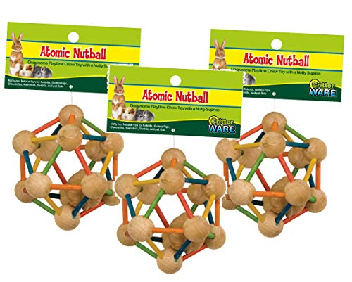 (Ware Manufacturing (3 Pack) Wood Atomic Nut Ball Pet Toys for Small Pets - Large)