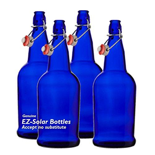 Blue Glass Solar Water Bottles, Cobalt Blue Glass Bottles, 1 liter, 32oz, (4 pack)