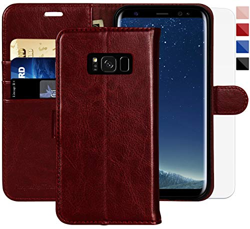 (Galaxy S8 Wallet Case, 5.8-inch,MONASAY [Included Screen Protector] Flip Folio Leather Cell Phone Cover with Credit Card Holder for Samsung Galaxy)