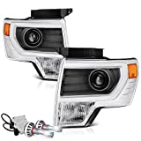 VIPMotoZ 2009-2014 Ford F-150 Projector Headlights - Built In Cree LED Low Beam, [Factory Projector Style] - Metallic Chrome Housing, Driver and Passenger Side