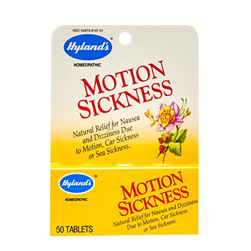Motion Sickness Tablets for Adults and Kids by Hyland's, All Natural Relief of Nausea and Dizziness from Sea Sickness and Car Sickness, 50 Count ()