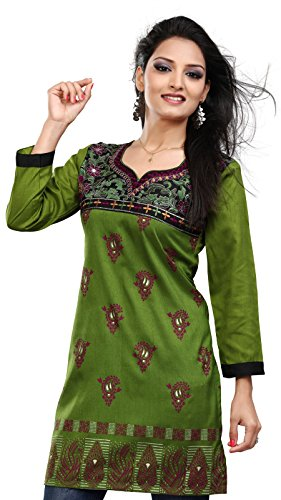 Printed Silk Tunic - Maple Clothing India Tunic Top Kurti Womens Printed Blouse Indian Apparel (Green, M)